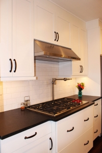 White kitchen cabinets and cooktop Frederick MD