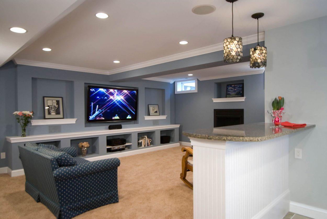 Basement tv room design - Basement Tv Room In Leesburg Va